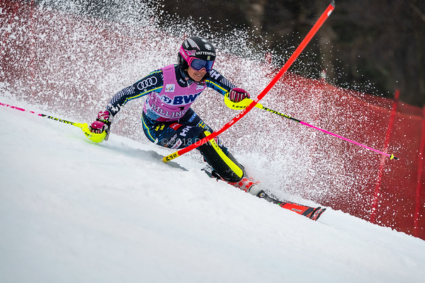 Frida Hansdotter SWE racing in the second run on her way to a third place finish at the Audi FIS Ski World Cup Women's Slalom event held at Killington Resort in Vermont, USA, November 25, 2018.