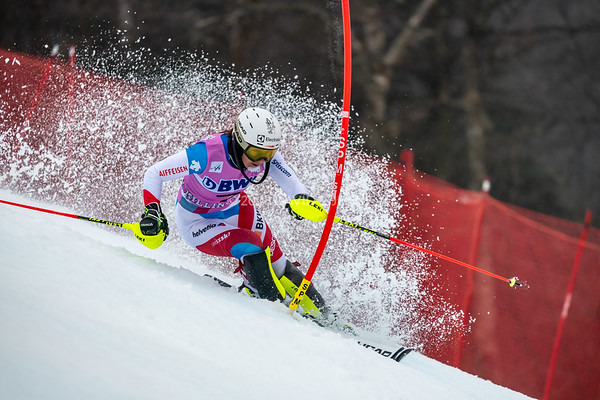 Wendy Holdener SUI racing in the second run of the Audi FIS Ski World Cup Women's Slalom event held at Killington Resort in Vermont, USA, November 25, 2018.