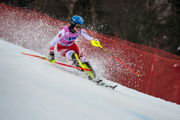 Bernadette Schild AUT racing in the second run of the Audi FIS Ski World Cup Women's Slalom event held at Killington Resort in Vermont, USA, November 25, 2018.