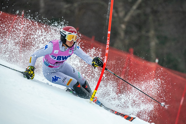 Irene Curtoni ITA racing in the second run of the Audi FIS Ski World Cup Women's Slalom event held at Killington Resort in Vermont, USA, November 25, 2018.