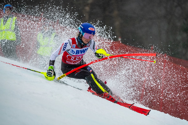 Mikaela Shiffrin USA racing in the second run on her way to winning the Audi FIS Ski World Cup Women's Slalom event held at Killington Resort in Vermont, USA, November 25, 2018... the third time in a row she had won this event.