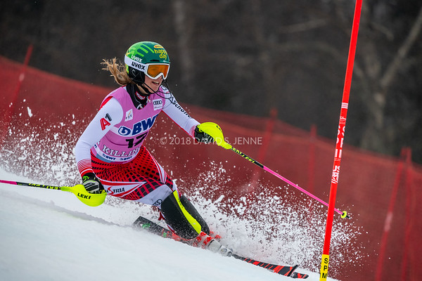 Katharina Liensberger AUT racing in the second run of the Audi FIS Ski World Cup Women's Slalom event held at Killington Resort in Vermont, USA, November 25, 2018.