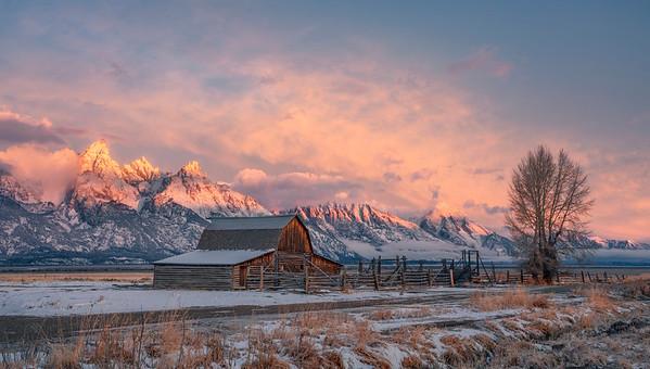 Sunrise at John Moulton Barn, Grand Teton National Park, Wyoming