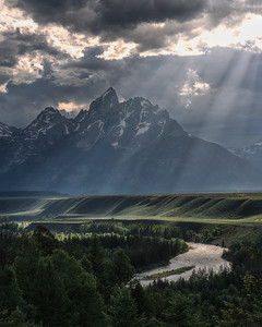 Afternoon Sun Rays in Grand Teton National Park, Wyoming