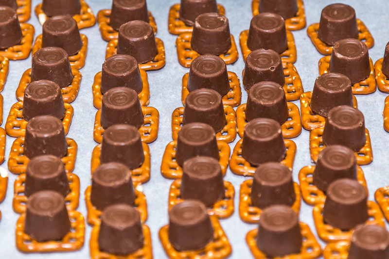 Rolos and Pretzels Before adding Tops
