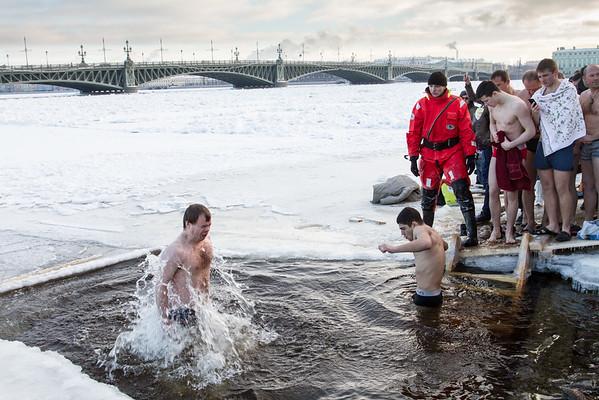Christening in Neva River