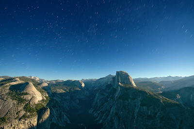 Midnight & Moonlight over the High Sierras  (w/ Half Dome and Star Trails)