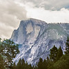 Half Dome  in clouds.