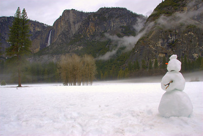 Snowman Enjoying Yosemite Falls