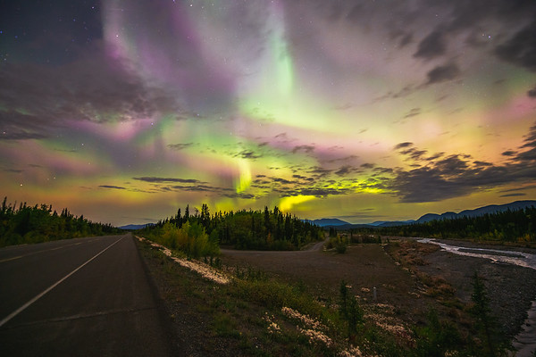 Aurora Borealis by the Road