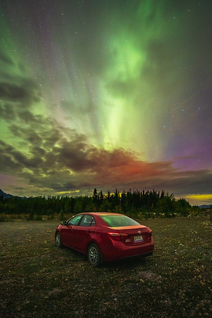 Toyota Under the Aurora Borealis