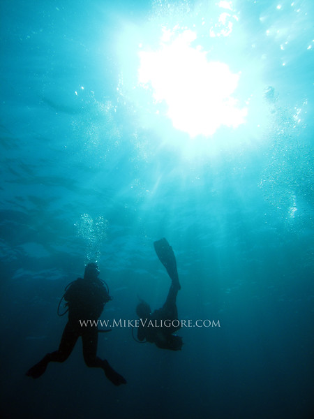 Sunlight filters down on two divers doing a safety stop<br /> Tofino, Mozambique