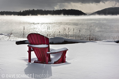 With the air temperature at 7º F, the water in Lake Champlain is steaming hot at 41º.  A nice day to sit in a quiet chair near the water and read a book.  January 23, 2011. Charlotte, VT.