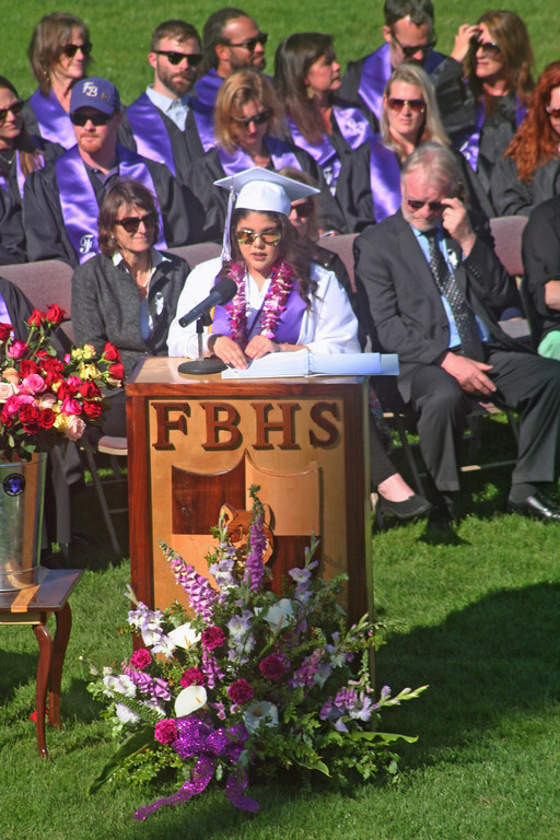 . Kate Becerra  (pictured) and senior class president Jacob Reynolds spoke for the Class of 2018.