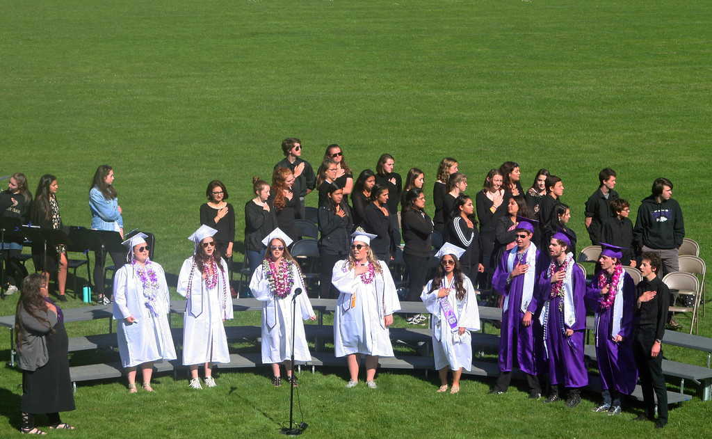 . The FBHS Senior Choir Singers began commencement with the Star Spangled Banner.