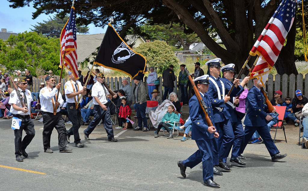 . The U.S. Coast Guard color guard from Station Noyo River, followed by local veterans from the American Legion Sequoia Post 96 and Veterans of Foreign Wars Fort Bragg Post 11166.