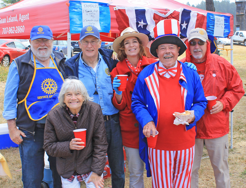 . The Mendocino Rotary Club crew. The club got Rotary Park mowed and trees trimmed for the Fourth, and hosted a tamale booth, face painting, and a puppet show after the parade.