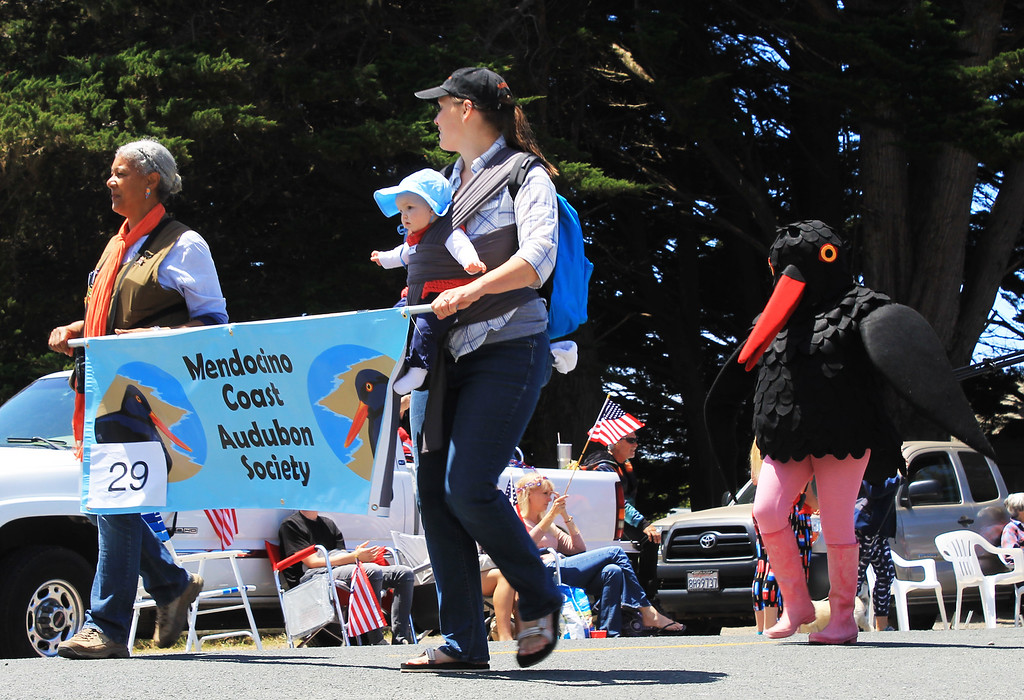 . The Mendocino Coast Audubon Society\'s crew included an oystercatcher and a very patient baby.