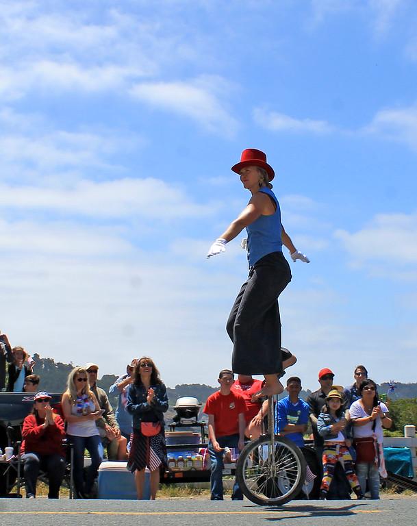 . A performer from Flynn Creek Circus.