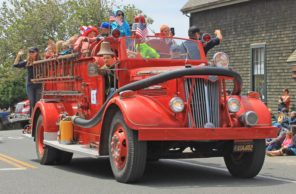 . A packed-full Mendocino Volunteer Fire Department engine.