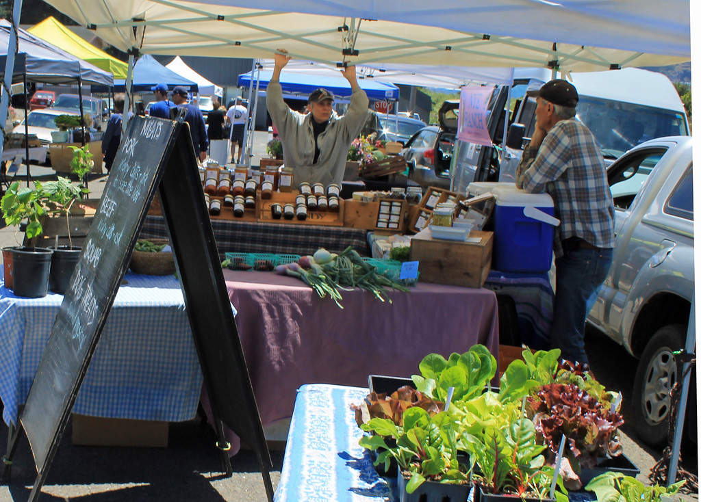 . The farmers market is big on colorful items and a relaxed frame of mind.