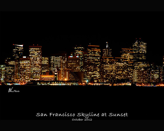 A timed exposure taken of the San Francisco skyline right at Sunset from Treasure Island.