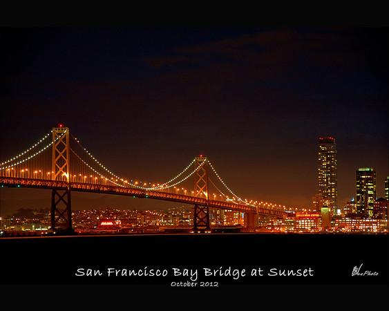 A timed exposure taken of the San Francisco side of The Bay Bridge right at Sunset from Treasure Island.