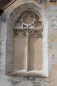 Europe, France, Giverny.  Church window.