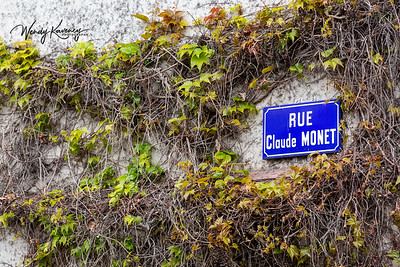 Europe, France, Giverny.  Rue Claude Monet street sign surrounded by vines.
