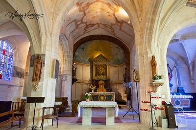 Europe, France, Giverny.  The altar in Saint Radegonde's Church.