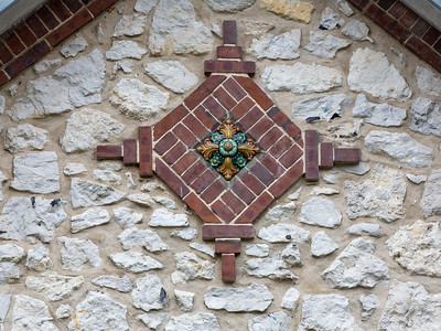 Europe, France, Giverny.  Architectural details on a village building.