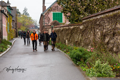 Europe, France, Giverny.  The gardening staff reporting to work at Monet's Garden.