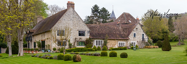 Europe, France, Giverny.  Panorama image of La Dime bed and breakfast and grounds.