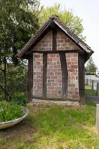 Europe, France, Giverny.  Bus stop shelter.