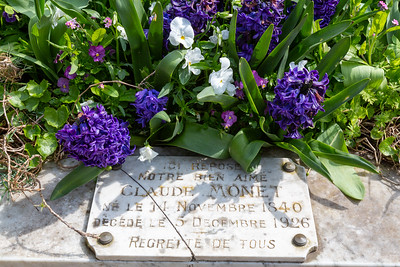 Europe, France, Giverny.  The grave site of Claude Monet.