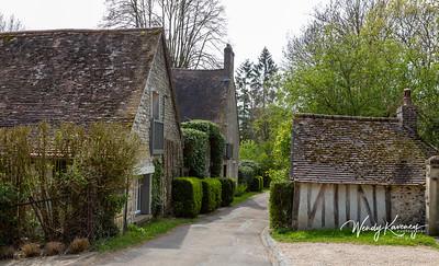 Europe, France, Giverny.  Village street scene.