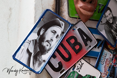 Cuba, Havana, Old Havana.  Souvenirs sporting images of Che and Fidel.