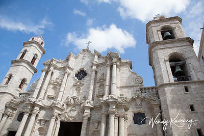 Cuba, Havana, Old Havana.  Facade of the church in Cathedral Plaza.