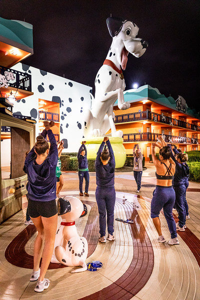 The Endicott College Dance team practices outside of their Hotel Rooms at Disney Hollywood Resorts the night before they compete at UDA College Nationals.