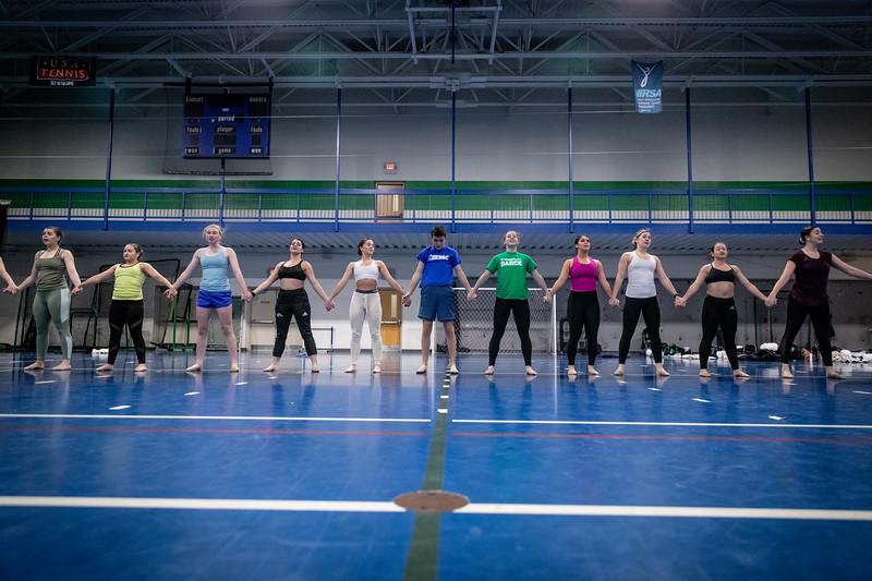 The Endicott College Dance Team prepares for their nationals performances.