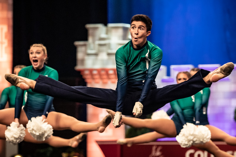 Sophmore, Steven O'Connor performs a turning disc during his pom routine. UDA College Nationals Semi-Finals was held at ESPN Wide World of Sports in Orlando, FL on January 18th, 2020.