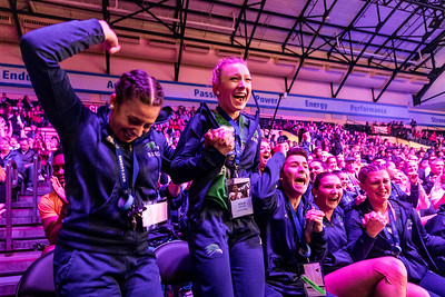 Members of the Endicott College Dance team jump out of their seats with joy, as they hear that they have made it to finals. UDA College nationals semi-finals were held at ESPN Wide World of Sports in Orlando, FL on January 18th, 2020.