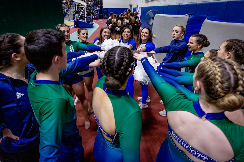 The Endicott College Dance Team competes in their pom routine at their regional competition. The New England Dance Championship took place at Westfield State University on February 16th, 2020.