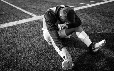 Endicott Freshman Joe Nayor is overcome with emotion after the Endicott College men's soccer team won their league title in a game against Gordon College, Beverly, Mass. 11/24/17. the final score was 1-0.