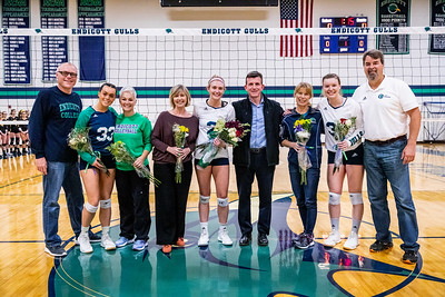 Endicott College Women's Volleyball takes on Wentworth College Leopards at MacDonald Gymnasium for Senior Night on October 24nd, 2019.