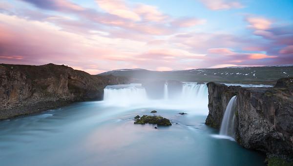 Sunset at Godafoss Waterfall