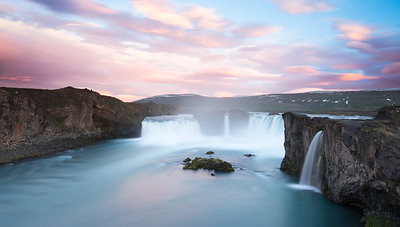 Sunset at Godafoss Waterfall