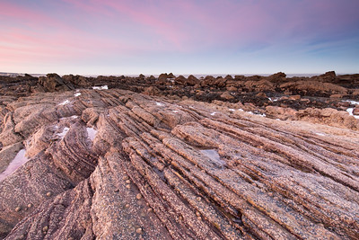 Stripy Rocks at Sunset