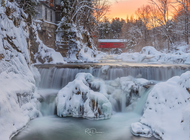 Northfield falls, Vermont, New England in winter- sunset light