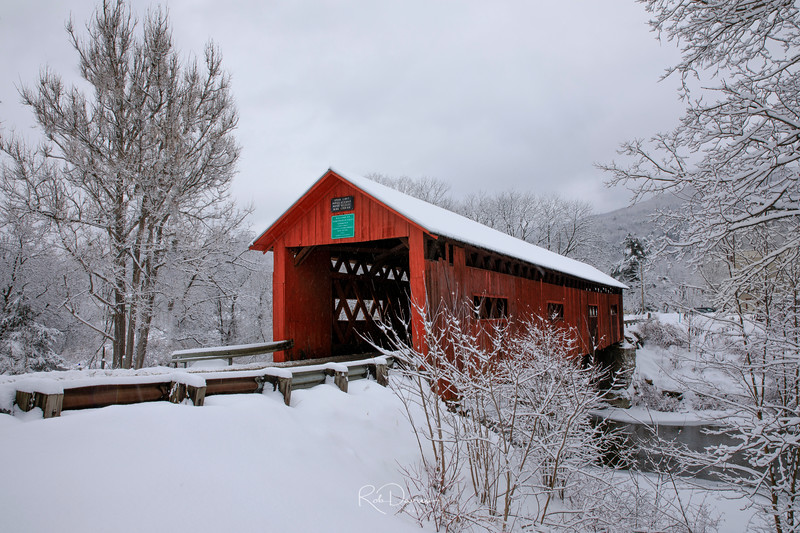 New England Winter Landscapes - Northfield covered bridge, Vermont